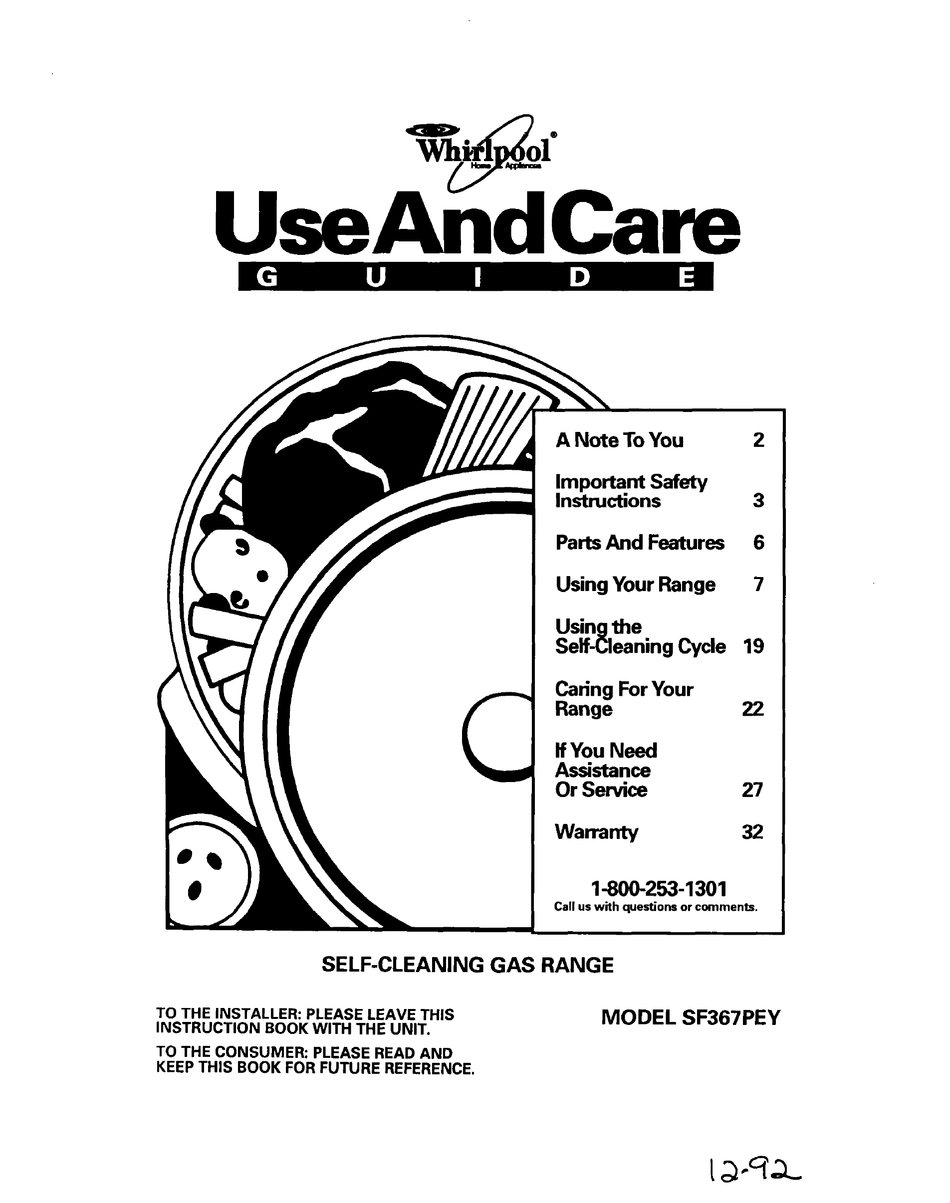 WHIRLPOOL SF367PEY USE AND CARE MANUAL Pdf Download