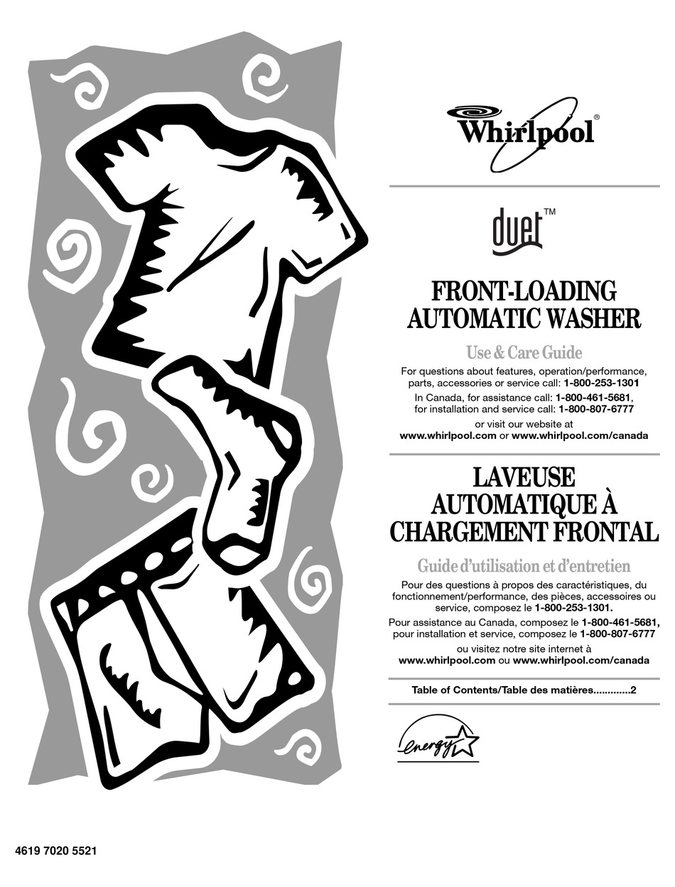 WHIRLPOOL DUET FRONT-LOAD WASHER USE AND CARE MANUAL Pdf