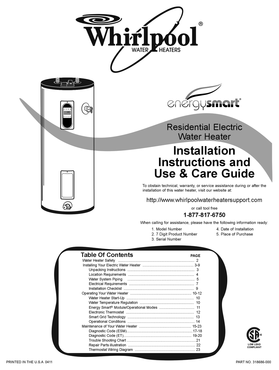 Whirlpool Energy Smart Water Heater Controller : whirlpool, energy, smart, water, heater, controller, WHIRLPOOL, ENERGY, SMART, 188410, INSTALLATION, MANUAL, Download, ManualsLib