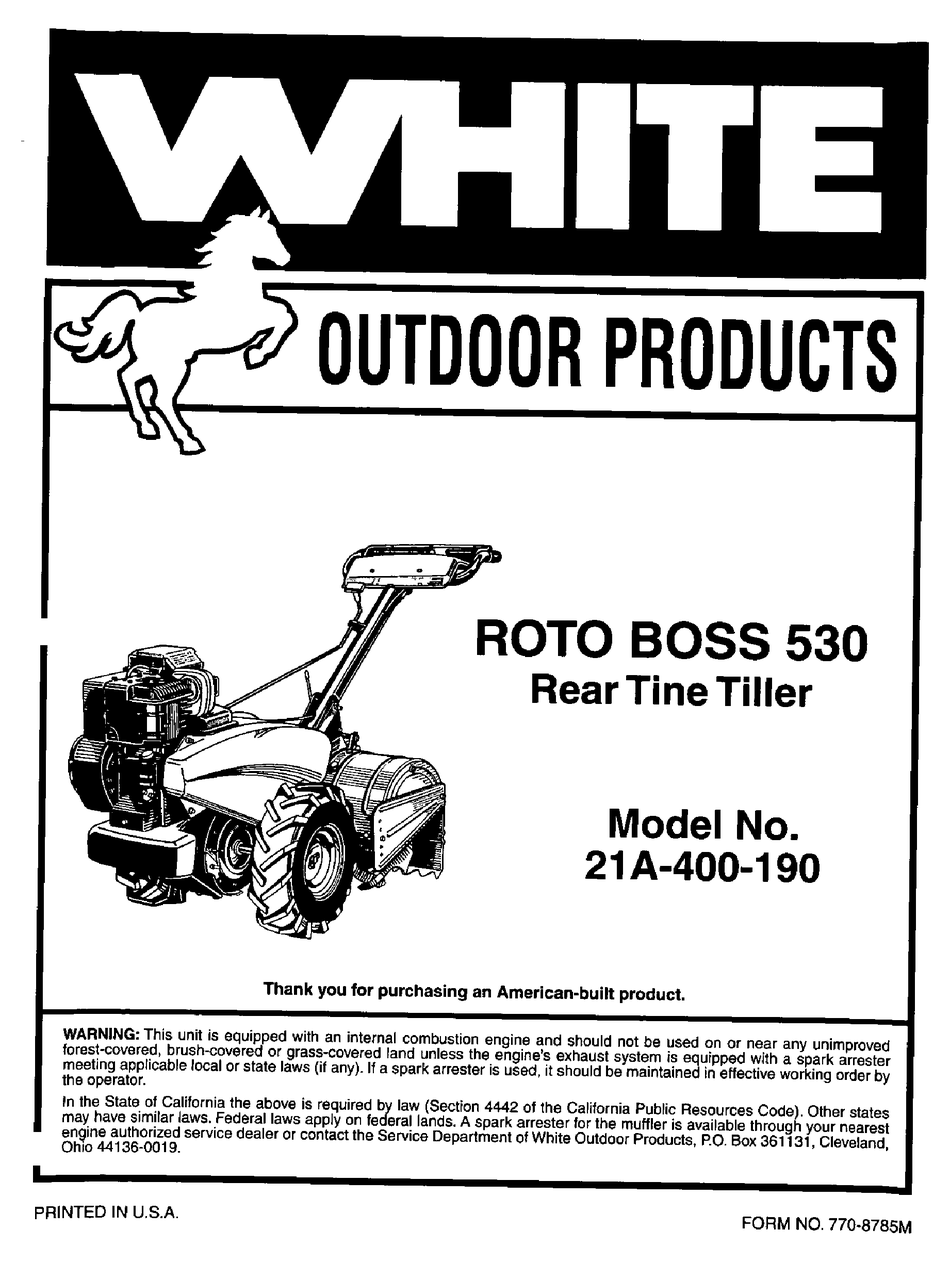 WHITE ROTO BOSS 21A-400-190 OWNER'S MANUAL Pdf Download