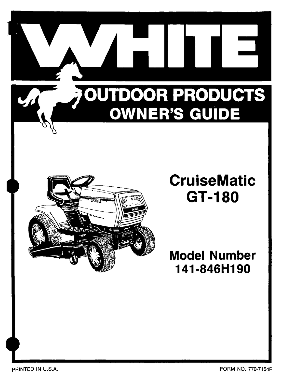 WHITE OUTDOOR CRUISEMATIC 141-846H190 OWNER'S MANUAL Pdf