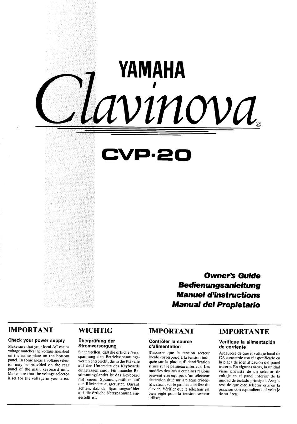 YAMAHA CLAVINOVA CVP-20 OWNER'S MANUAL Pdf Download