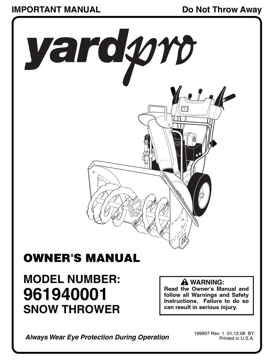 YARD MACHINES YARDPRO 961940001 OWNER'S MANUAL Pdf