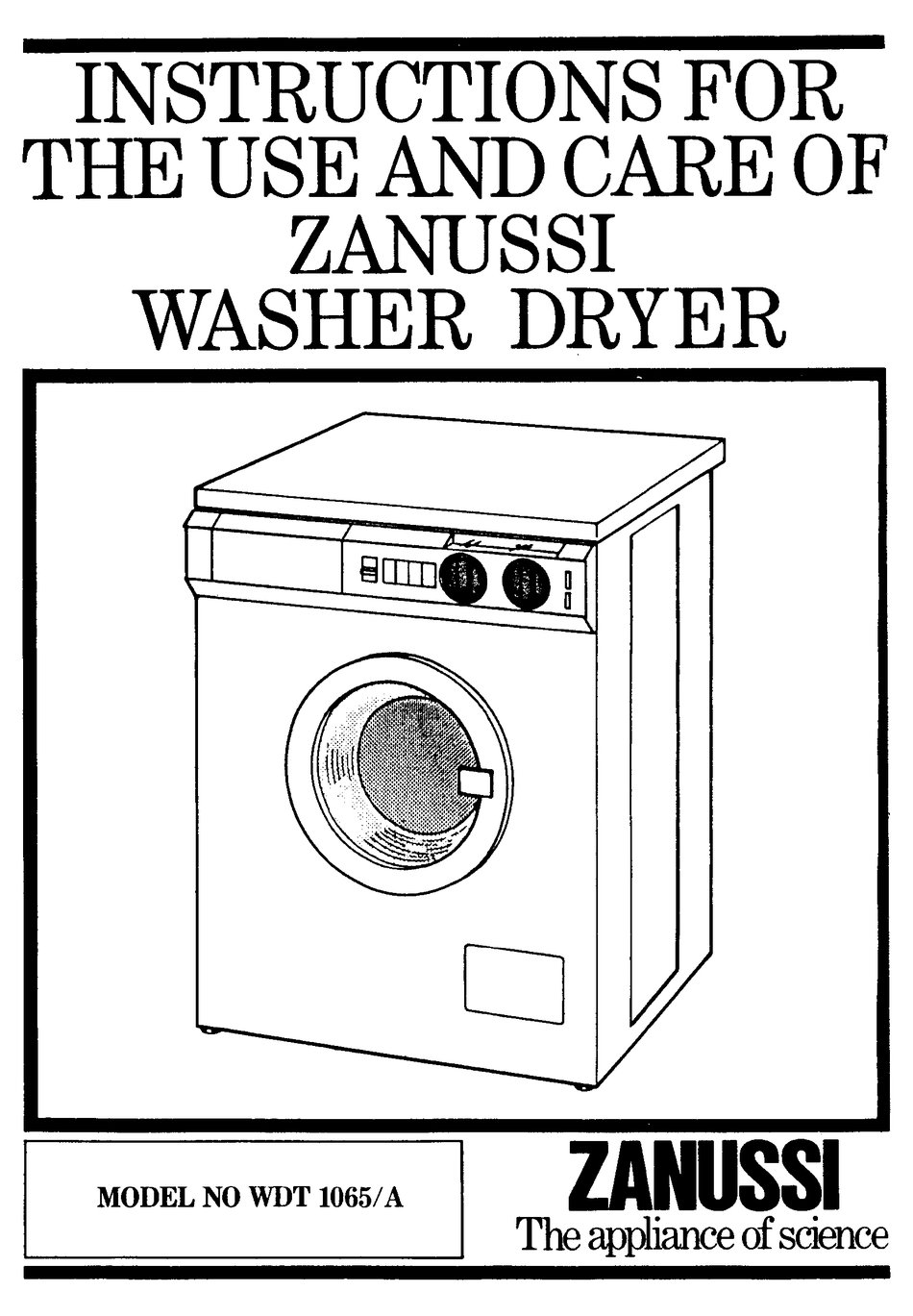 ZANUSSI WDT 1065/A INSTRUCTIONS FOR USE AND CARE MANUAL