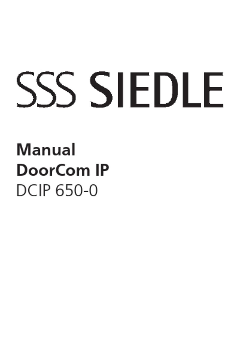 SSS SIEDLE DOORCOM IP DCIP 650-0 MANUAL Pdf Download