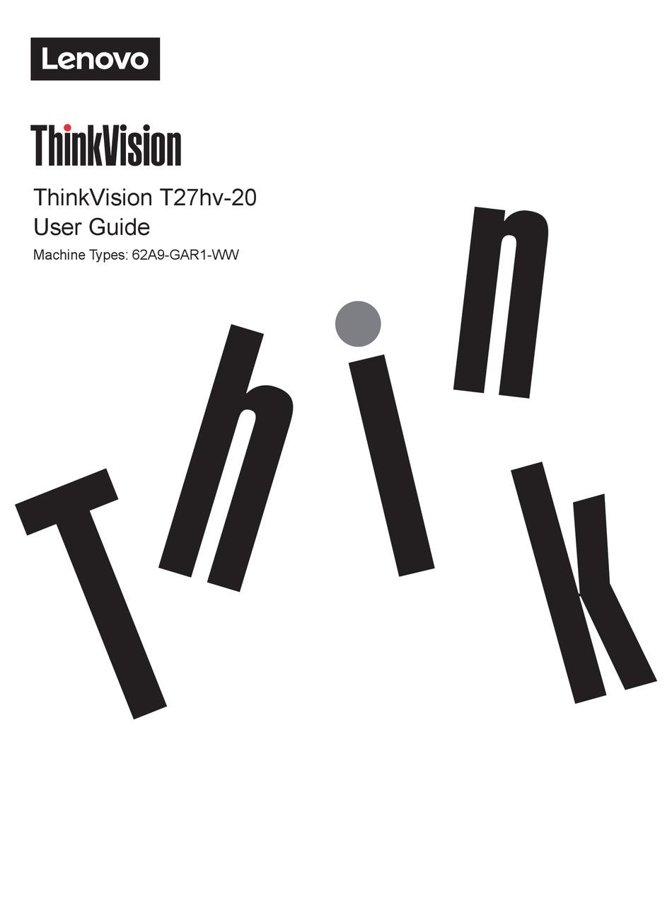 LENOVO THINKVISION T27HV-20 USER MANUAL Pdf Download