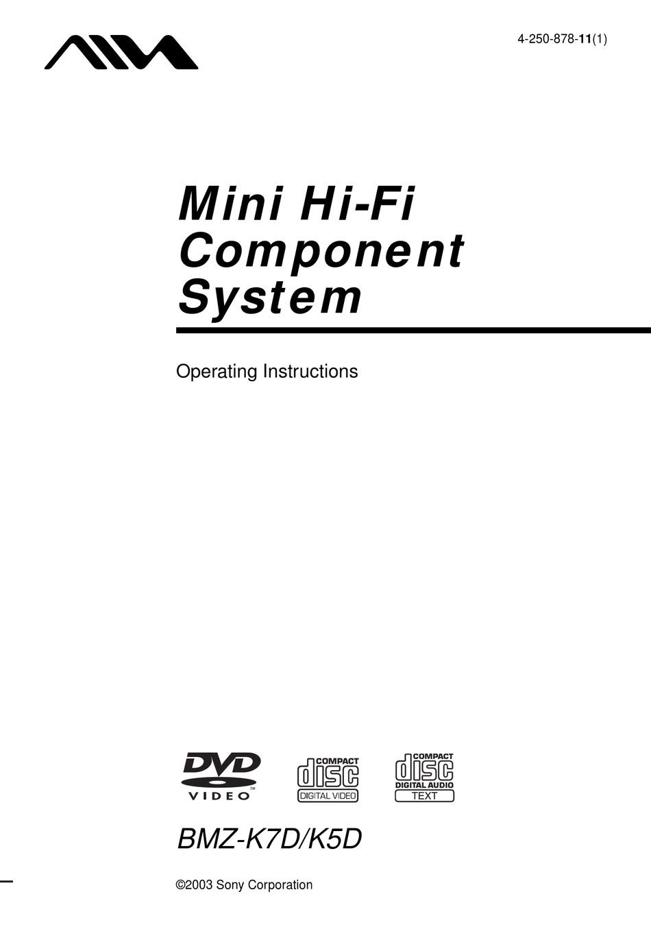 AIWA BMZ-K5D OPERATING INSTRUCTIONS MANUAL Pdf Download