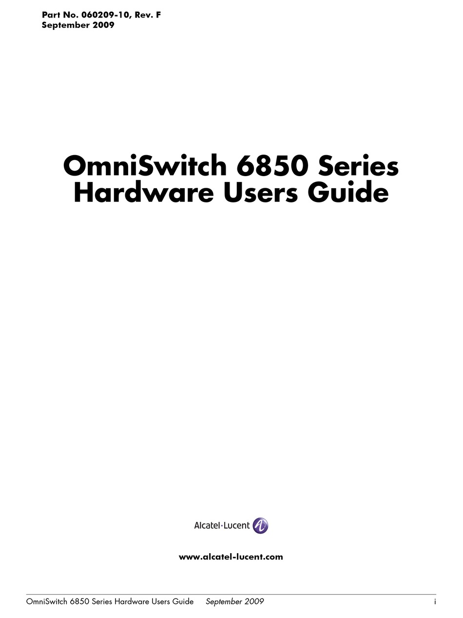 ALCATEL-LUCENT OMNISWITCH 6850-48 HARDWARE USER'S MANUAL