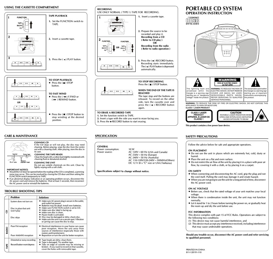 AUDIOVOX CE220B OPERATION INSTRUCTION Pdf Download