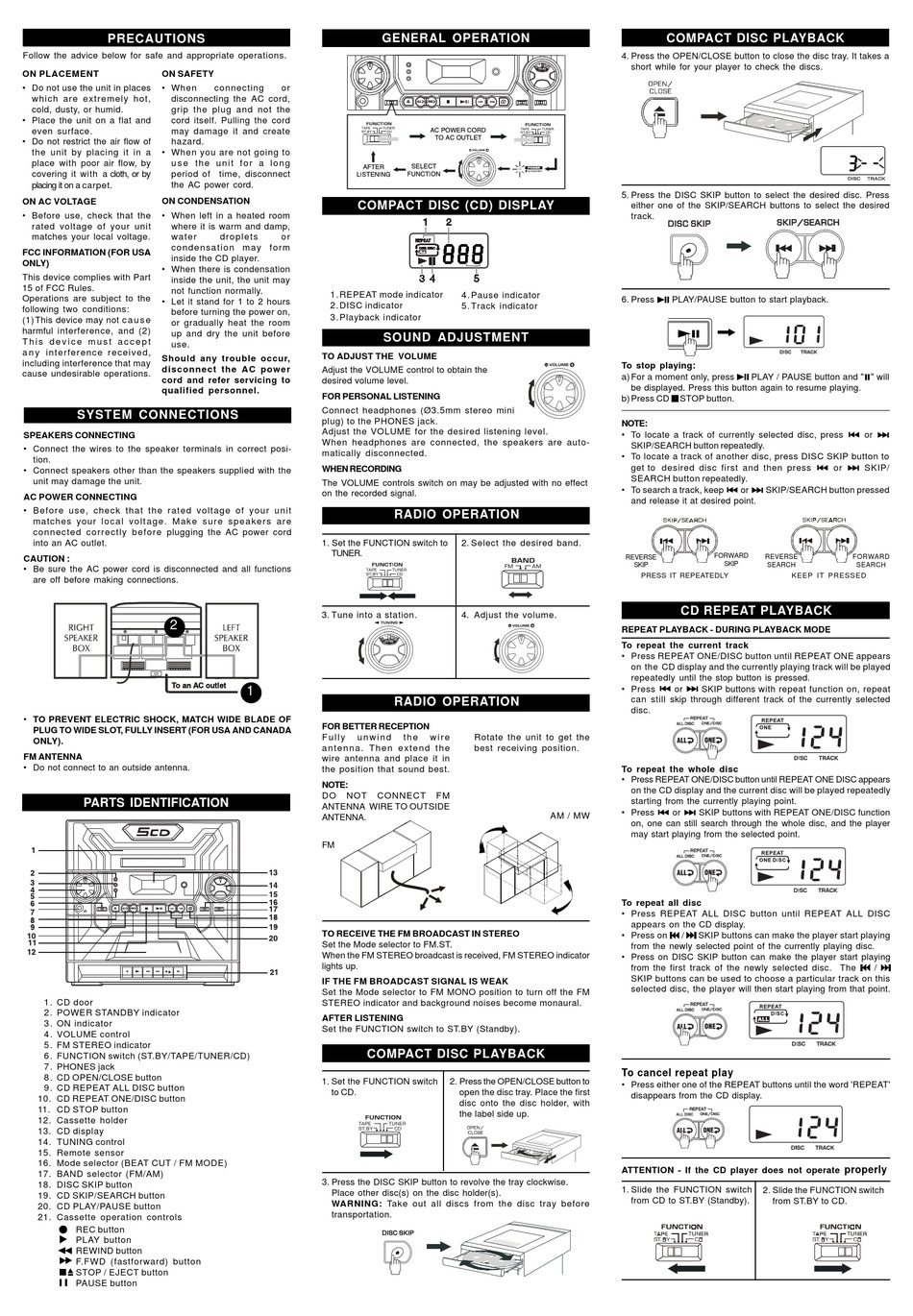 AUDIOVOX CE445C OPERATING INSTRUCTIONS Pdf Download