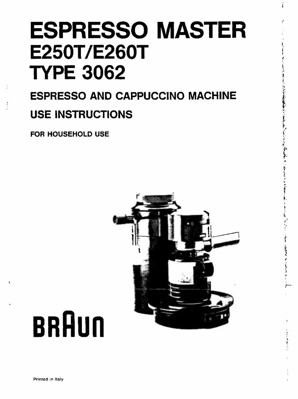 BRAUN ESPRESSO MASTER E250T USE INSTRUCTIONS Pdf Download