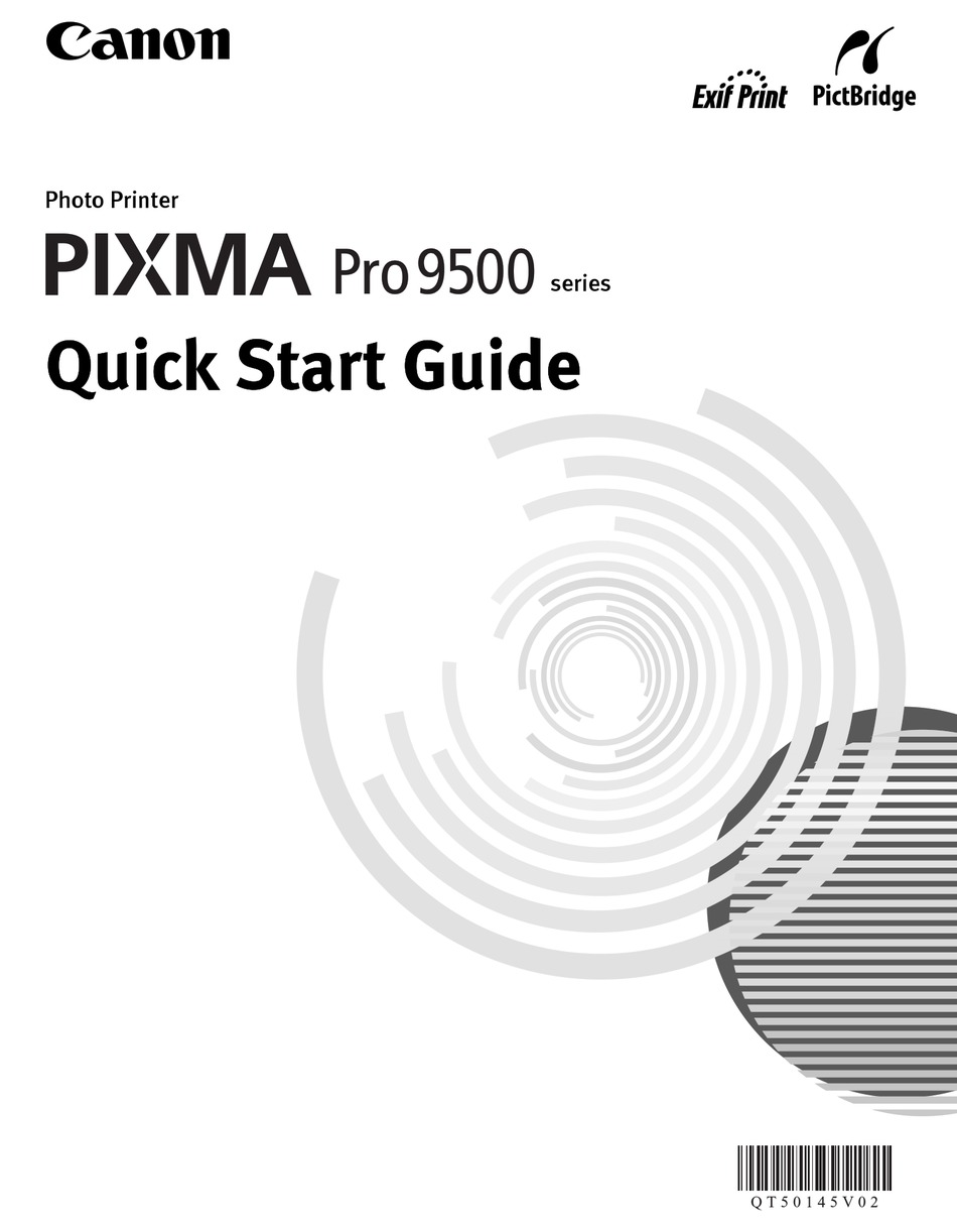 CANON PIXMA PRO9500 SERIES QUICK START MANUAL Pdf Download