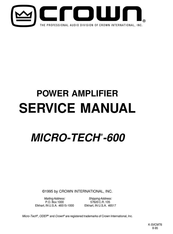 CROWN MICRO-TECH MT-600 SERVICE MANUAL Pdf Download