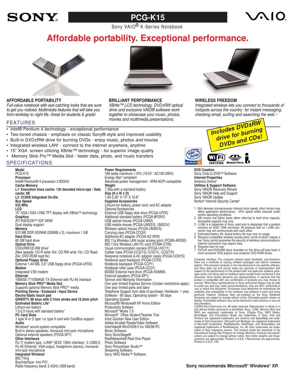 SONY PCG-K15 MARKETING SPECIFICATIONS Pdf Download