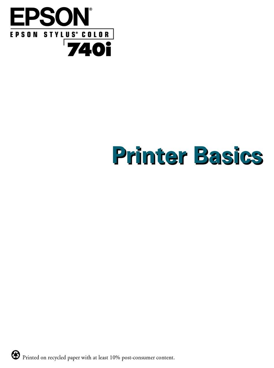 EPSON STYLUS COLOR 740I PRINTER BASICS MANUAL Pdf Download