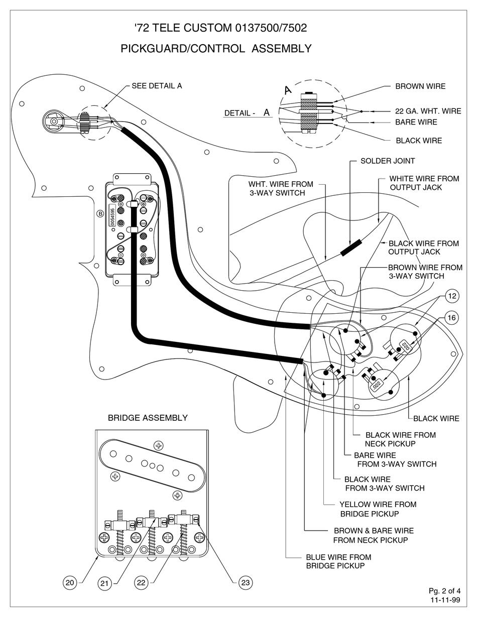 Fender Telecaster Wiring Diagram : fender, telecaster, wiring, diagram, FENDER, CLASSIC, SERIES, TELECASTER, CUSTOM, ASSEMBLY, Download, ManualsLib