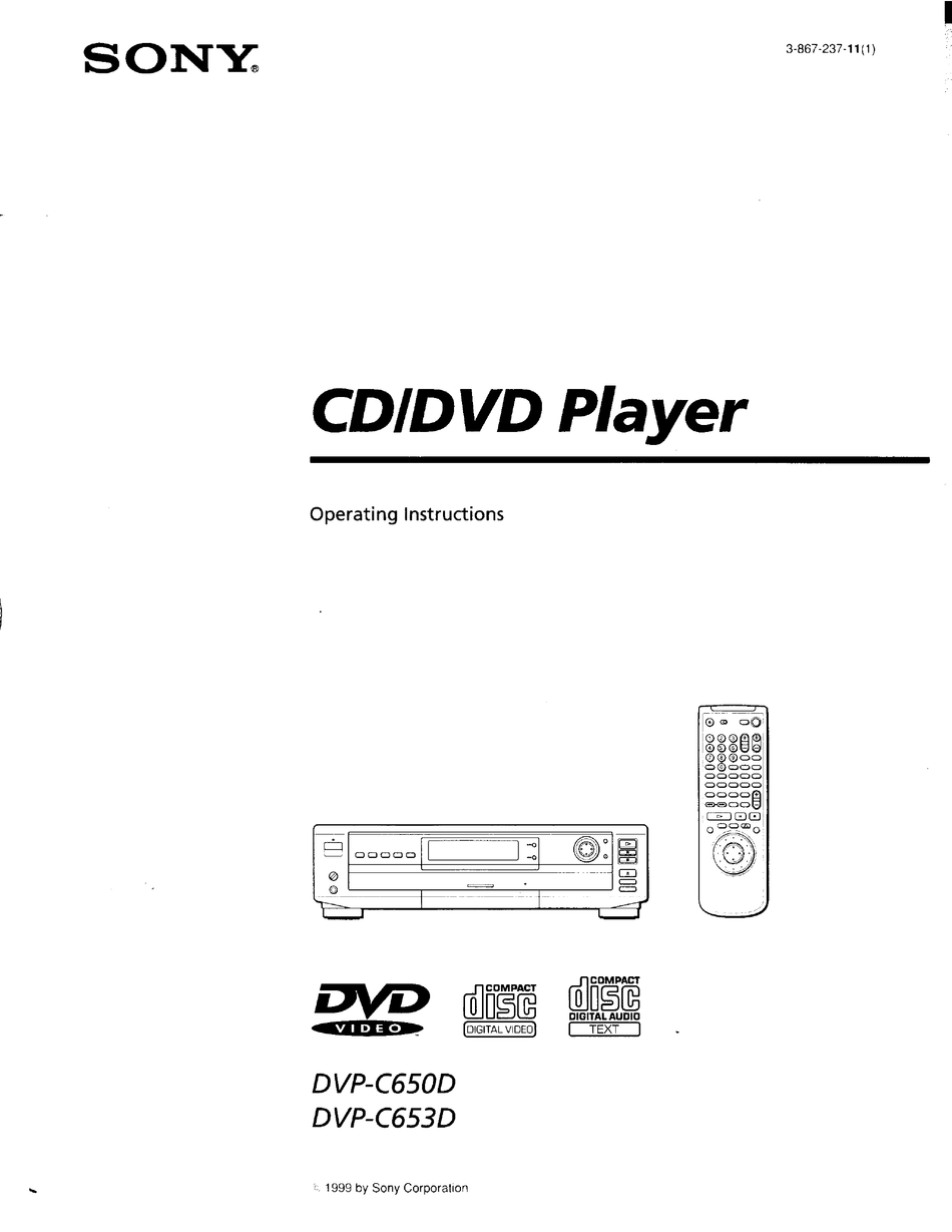 SONY DVP-C650D OPERATING INSTRUCTIONS MANUAL Pdf Download