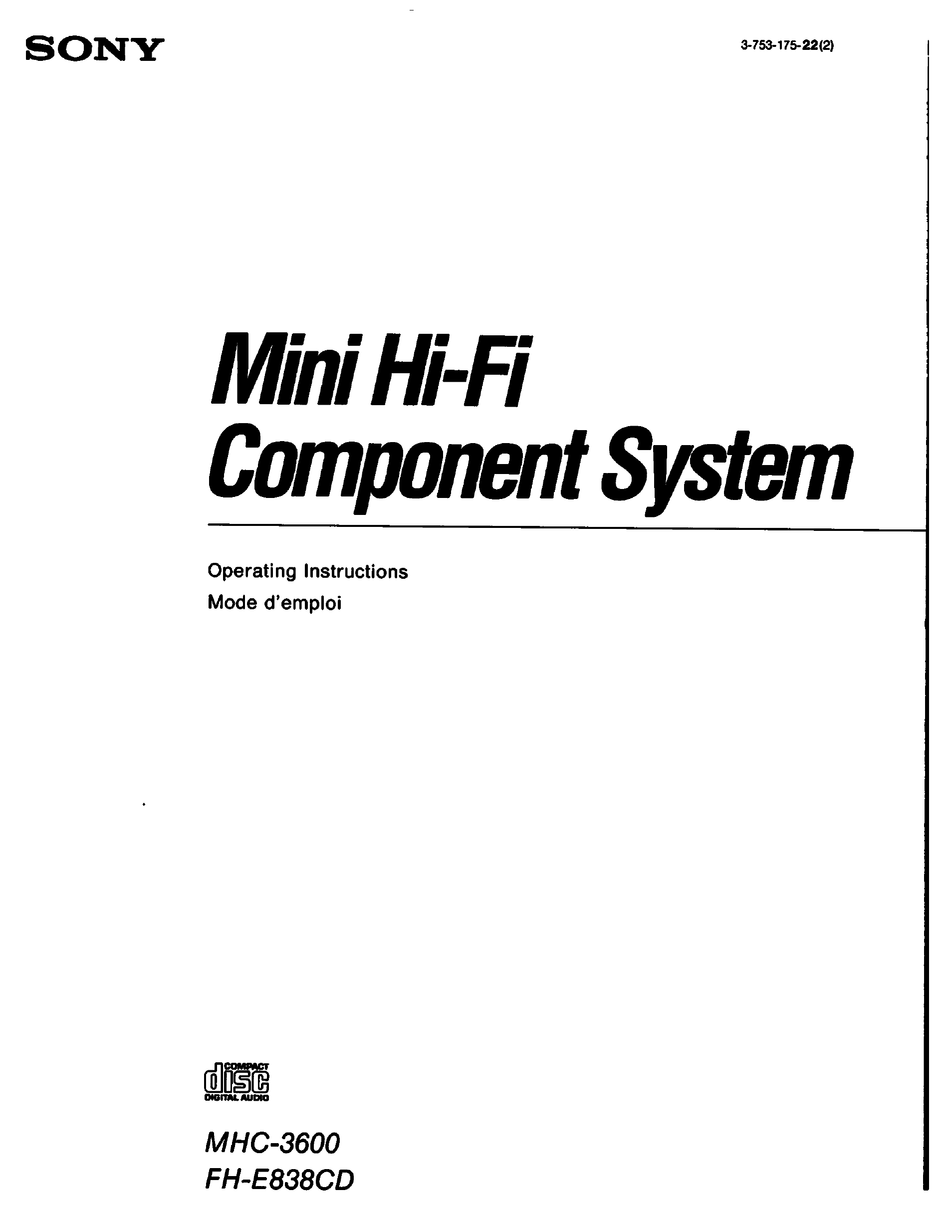 SONY MHC-3600 OPERATING INSTRUCTIONS MANUAL Pdf Download