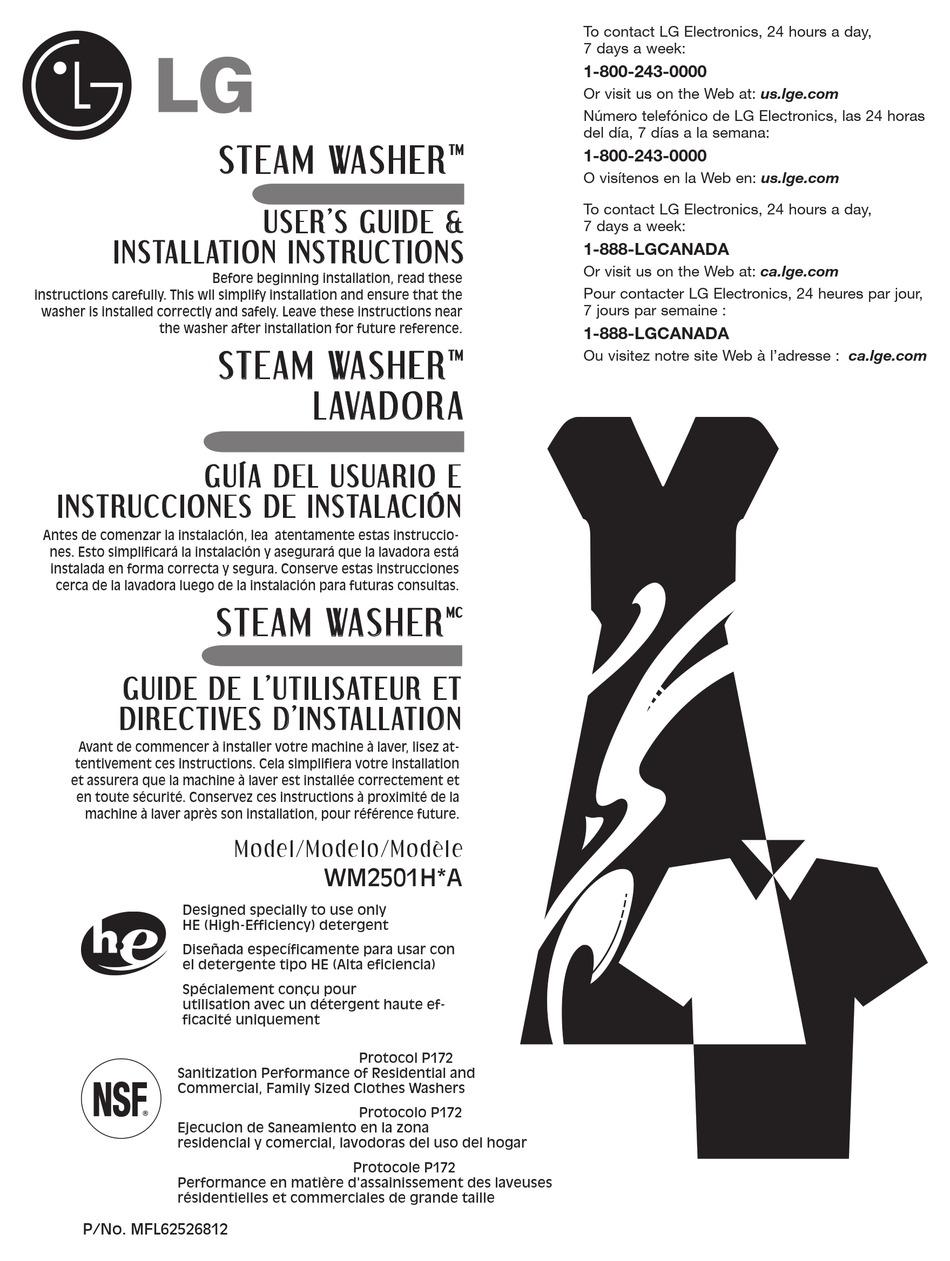 LG WM2501HVA USER'S MANUAL & INSTALLATION INSTRUCTIONS Pdf