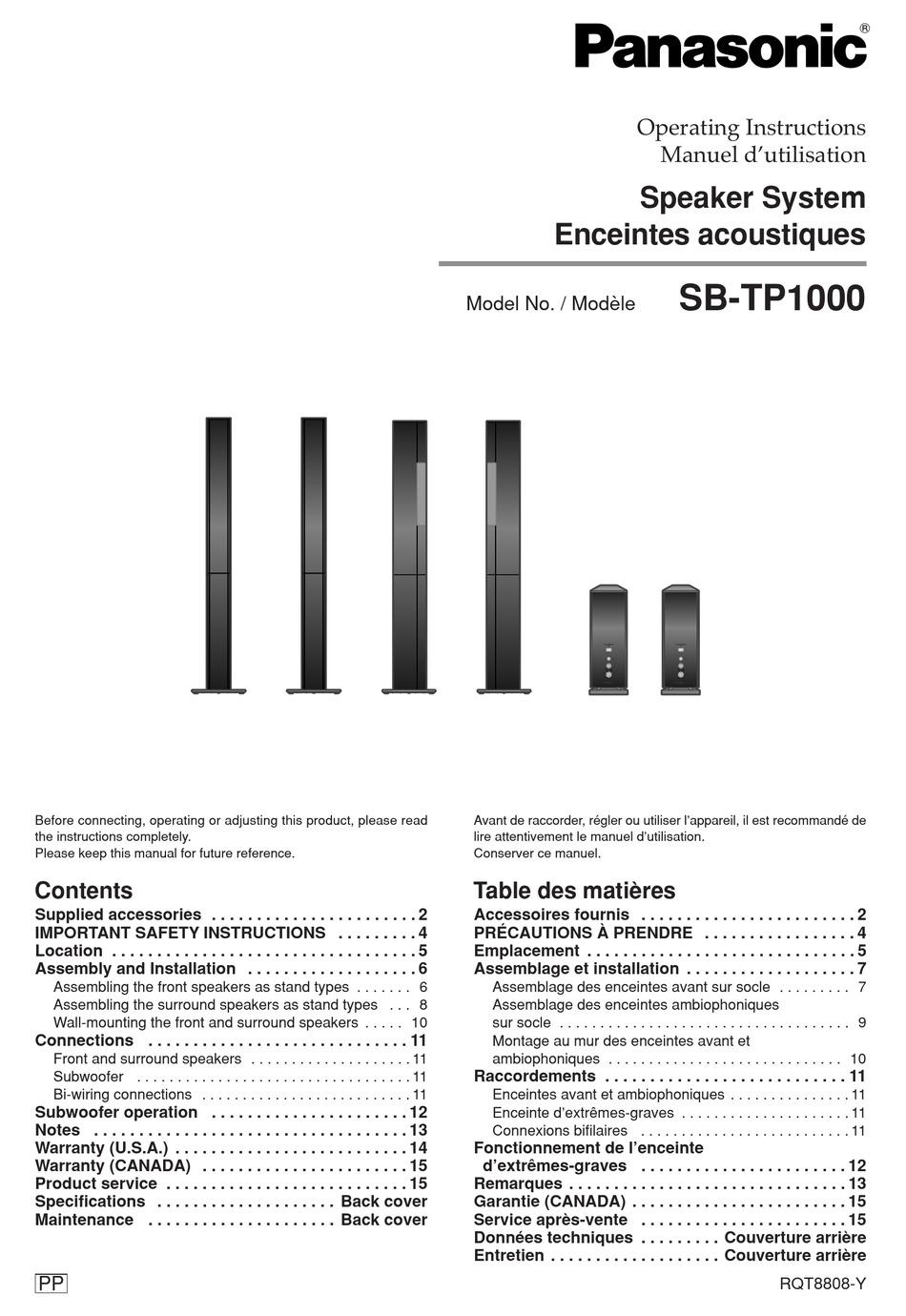 PANASONIC SB-TP1000 OPERATING INSTRUCTIONS MANUAL Pdf