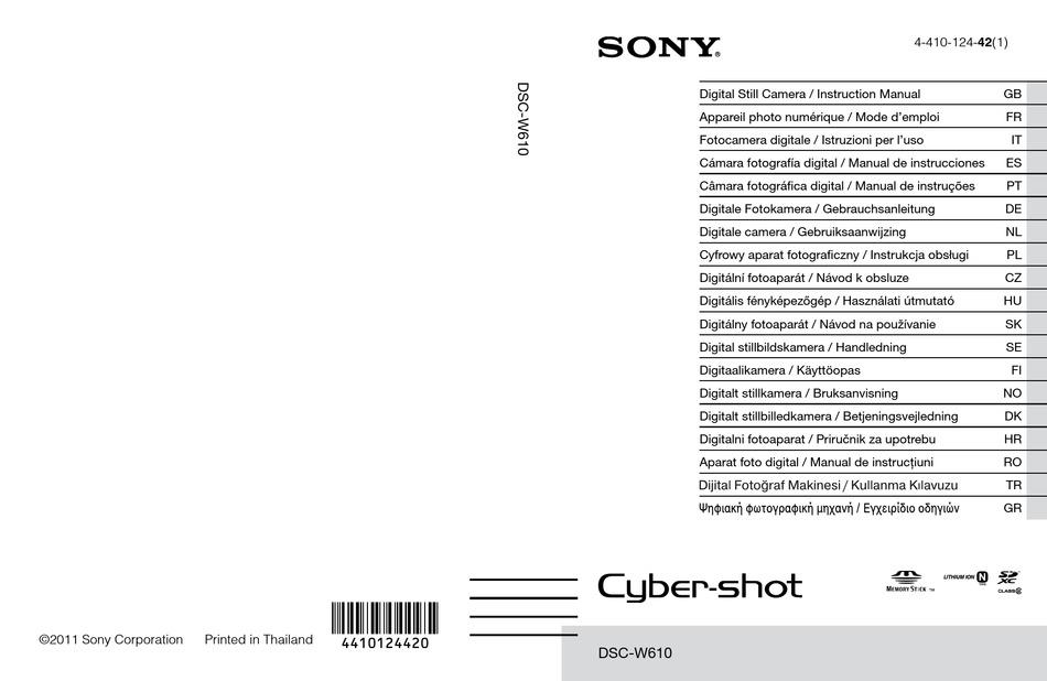 SONY CYBER-SHOT DSC-W610 INSTRUCTION MANUAL Pdf Download