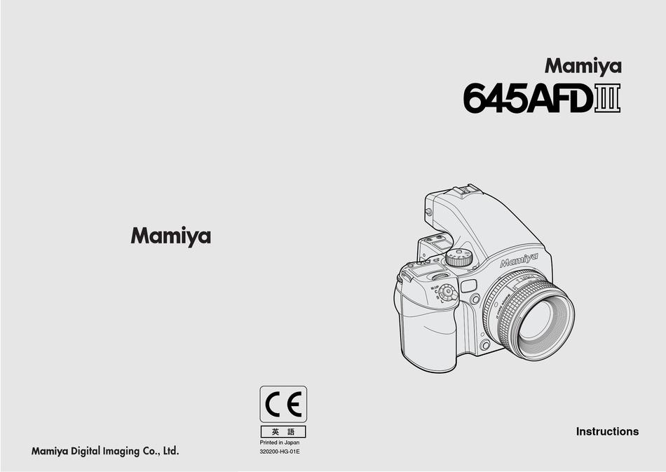 MAMIYA 645 AFD III INSTRUCTIONS MANUAL Pdf Download