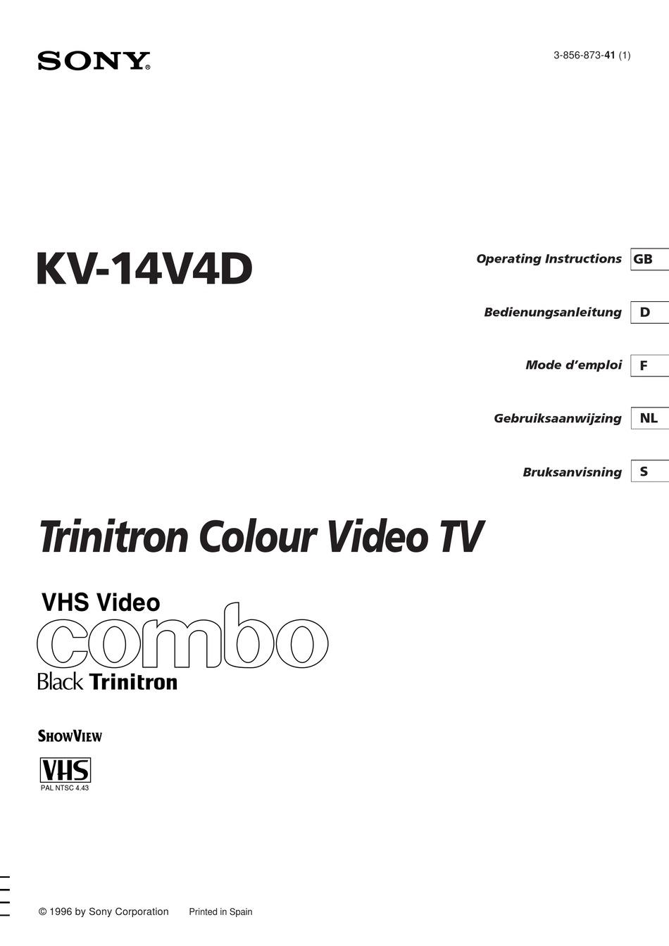 SONY TRINITRON KV-14V4D OPERATING INSTRUCTIONS MANUAL Pdf