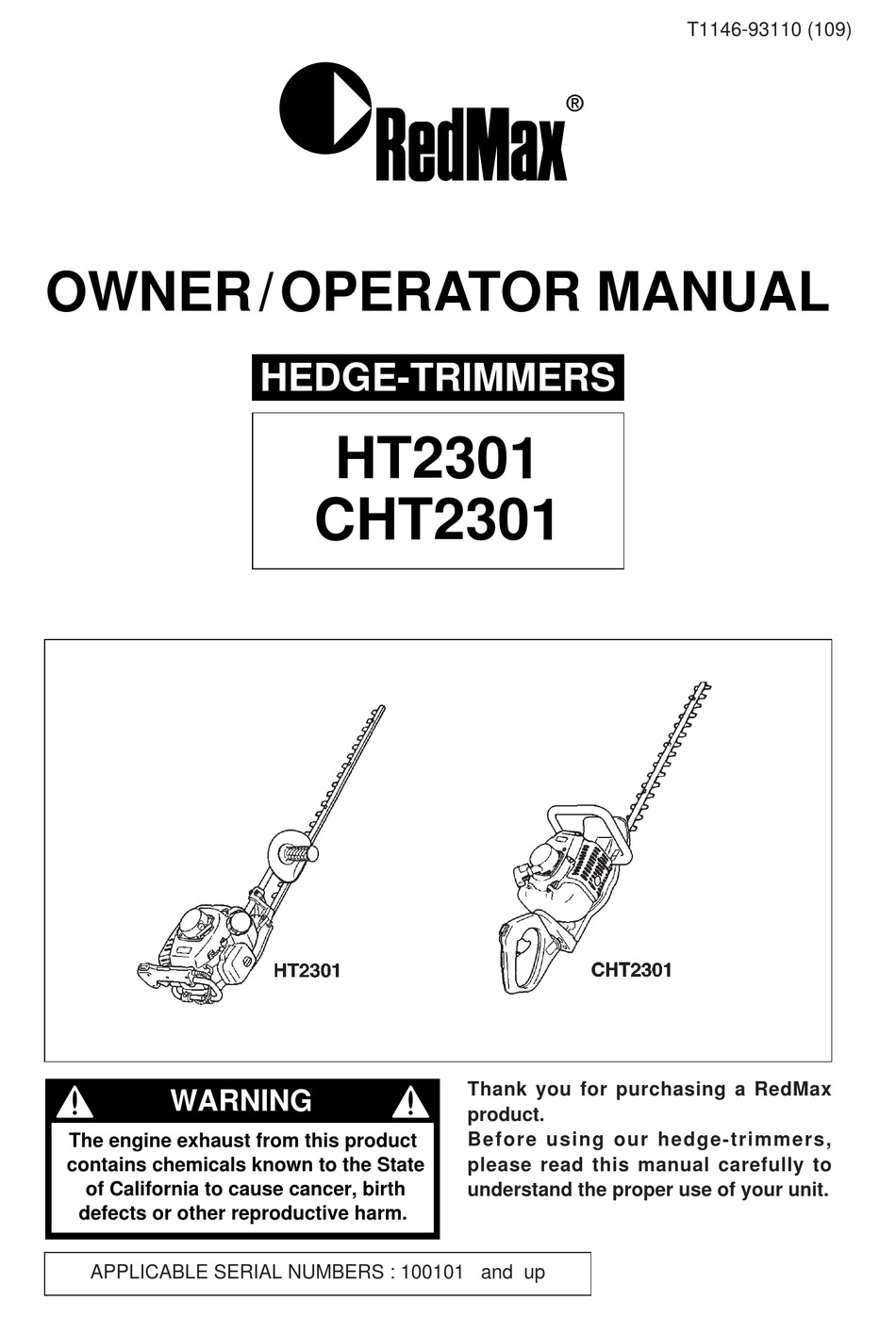 REDMAX CHT2301 OWNER'S/OPERATOR'S MANUAL Pdf Download