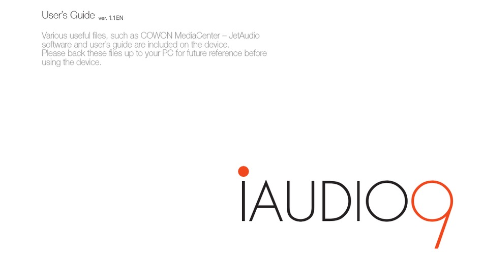 COWON IAUDIO IAUDIO 9 16GB USER MANUAL Pdf Download