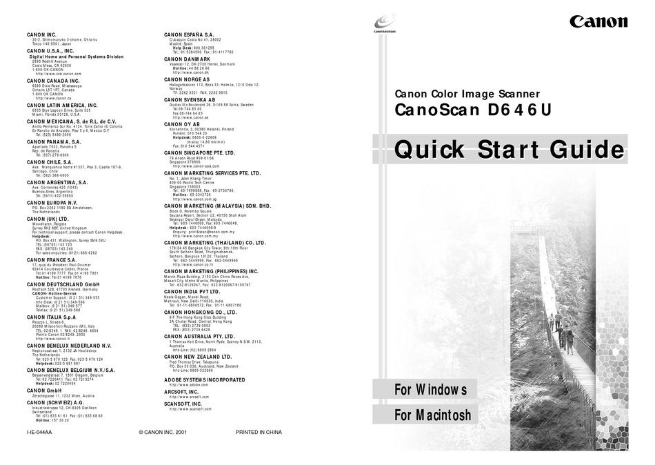 CANON CANOSCAN D646U QUICK START MANUAL Pdf Download
