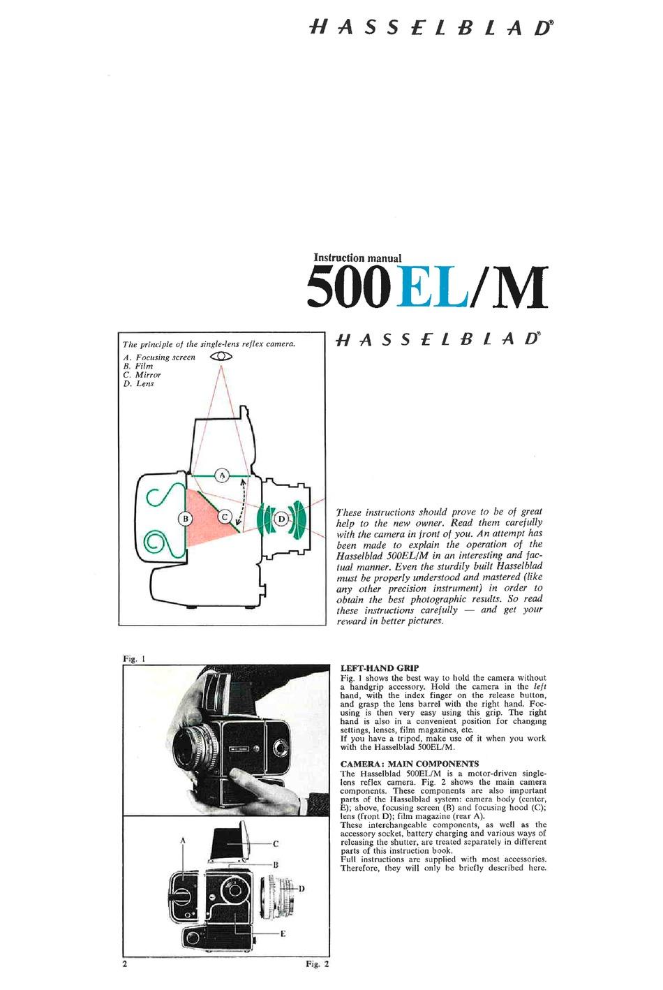 HASSELBLAD 500EL/M INSTRUCTION MANUAL Pdf Download