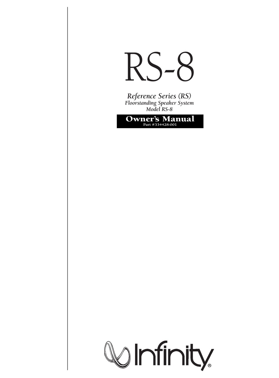 INFINITY REFERENCE RS-8 OWNER'S MANUAL Pdf Download