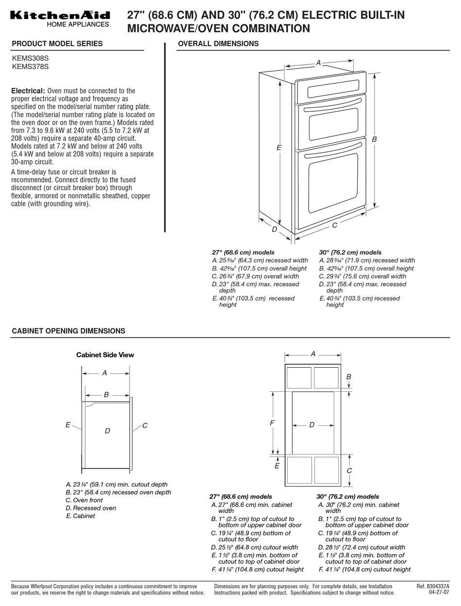 kitchenaid kems308s product dimensions