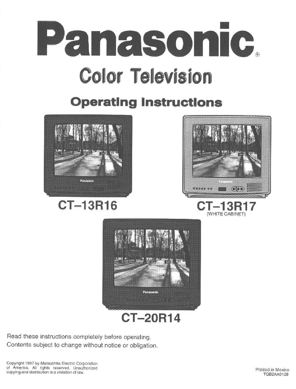 PANASONIC CT-13R16 OPERATING INSTRUCTIONS MANUAL Pdf