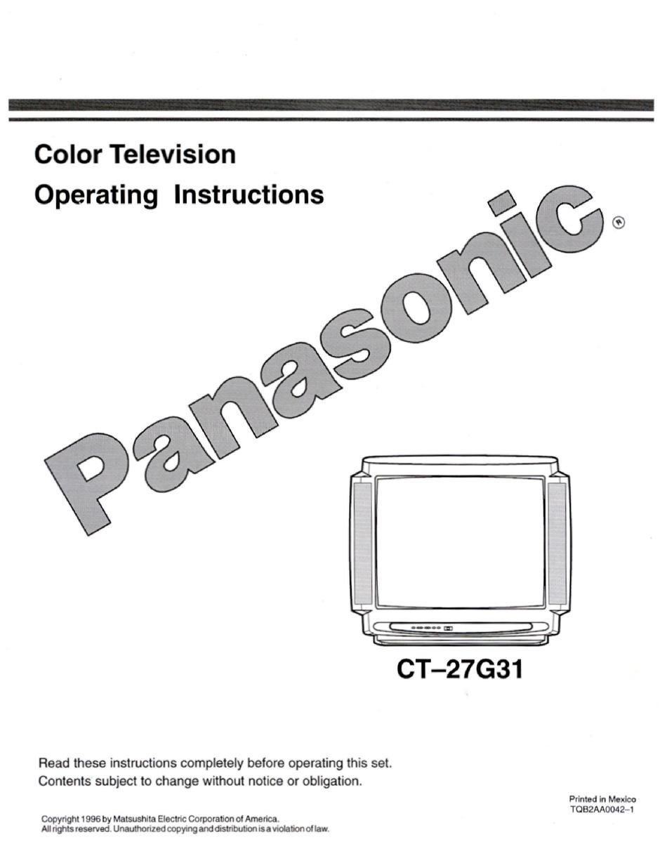 PANASONIC CT-27G31 OPERATING INSTRUCTIONS MANUAL Pdf