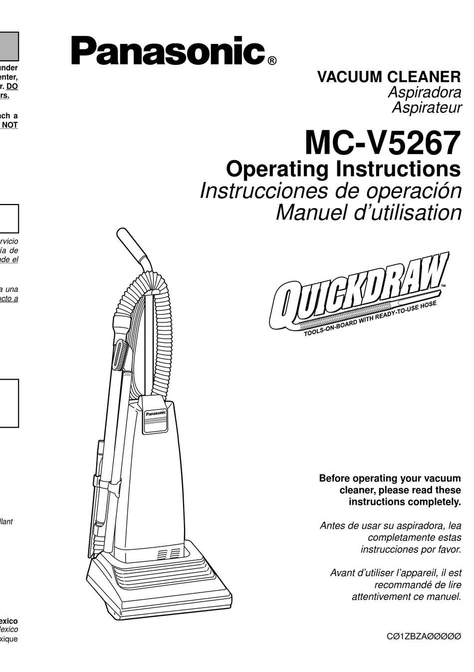PANASONIC MC-V5267 OPERATING INSTRUCTIONS MANUAL Pdf