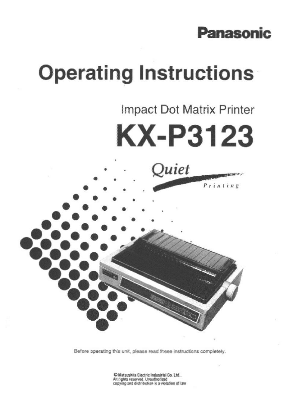 PANASONIC KX-P3123 OPERATING INSTRUCTIONS MANUAL Pdf