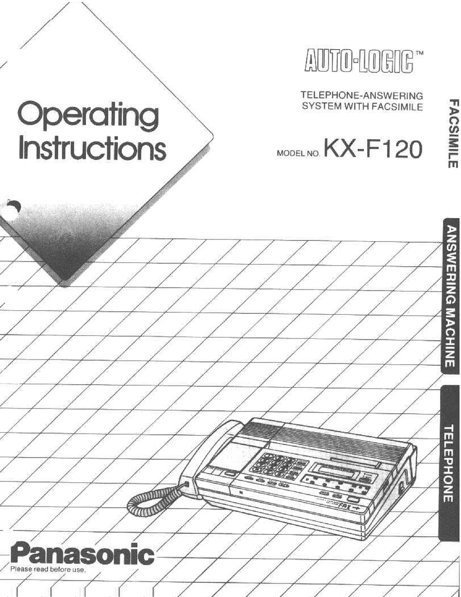 PANASONIC KX-F120 OPERATING INSTRUCTIONS MANUAL Pdf