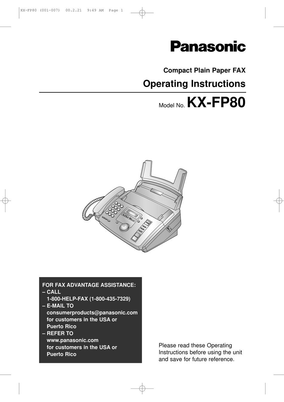 PANASONIC KX-FP80 OPERATING INSTRUCTIONS MANUAL Pdf