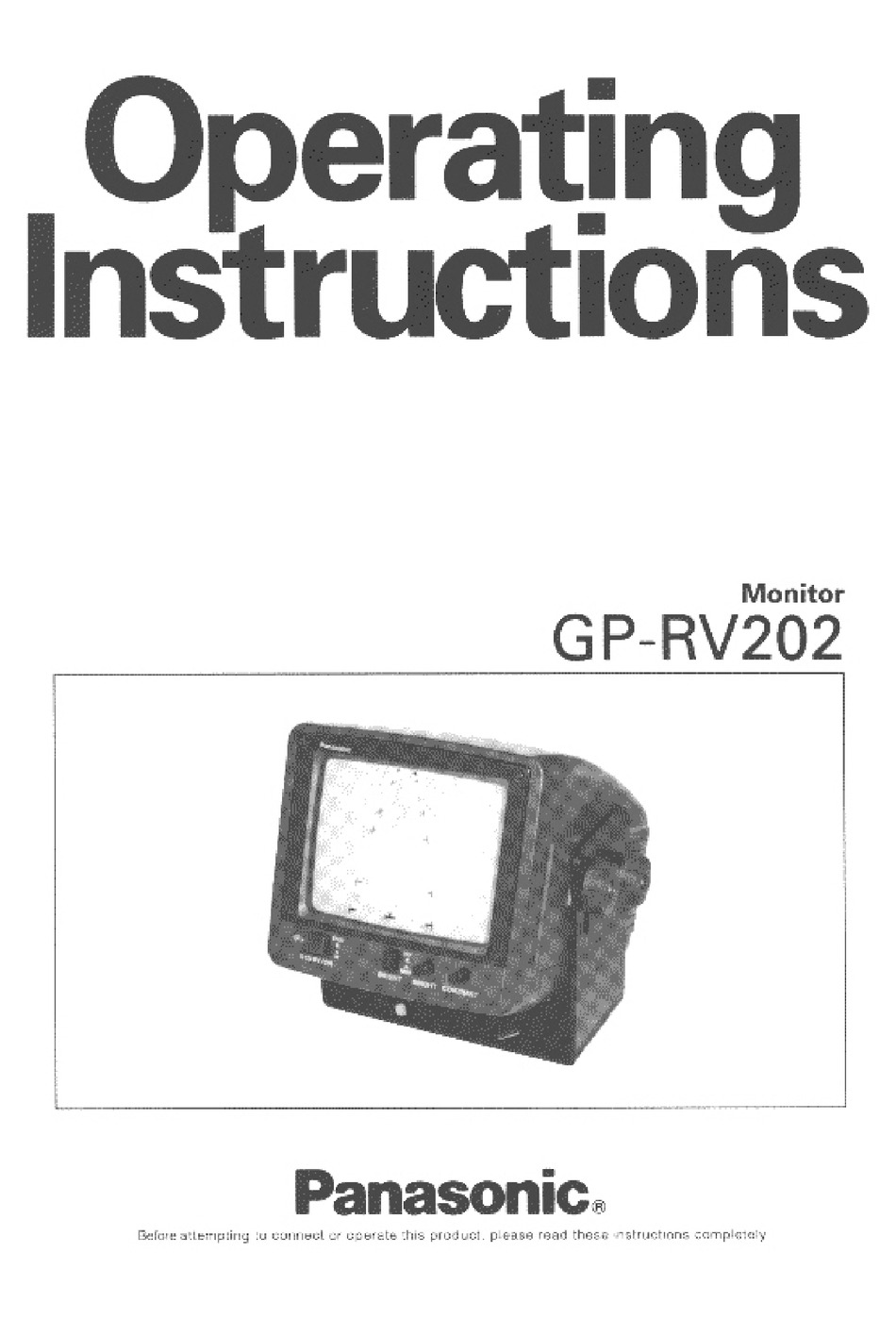 PANASONIC GP-RV202 OPERATING INSTRUCTIONS MANUAL Pdf