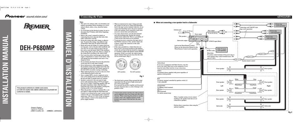 PIONEER DEH-P680MP INSTALLATION MANUAL Pdf Download