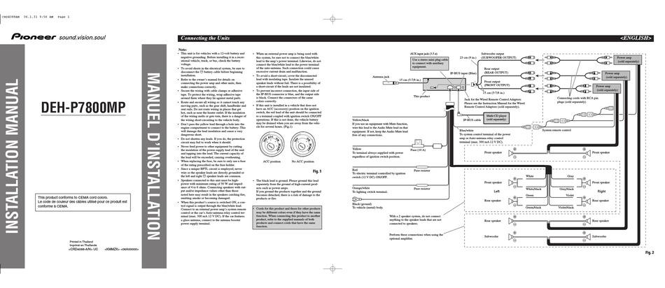 PIONEER DEH-P7800MP INSTALLATION MANUAL Pdf Download