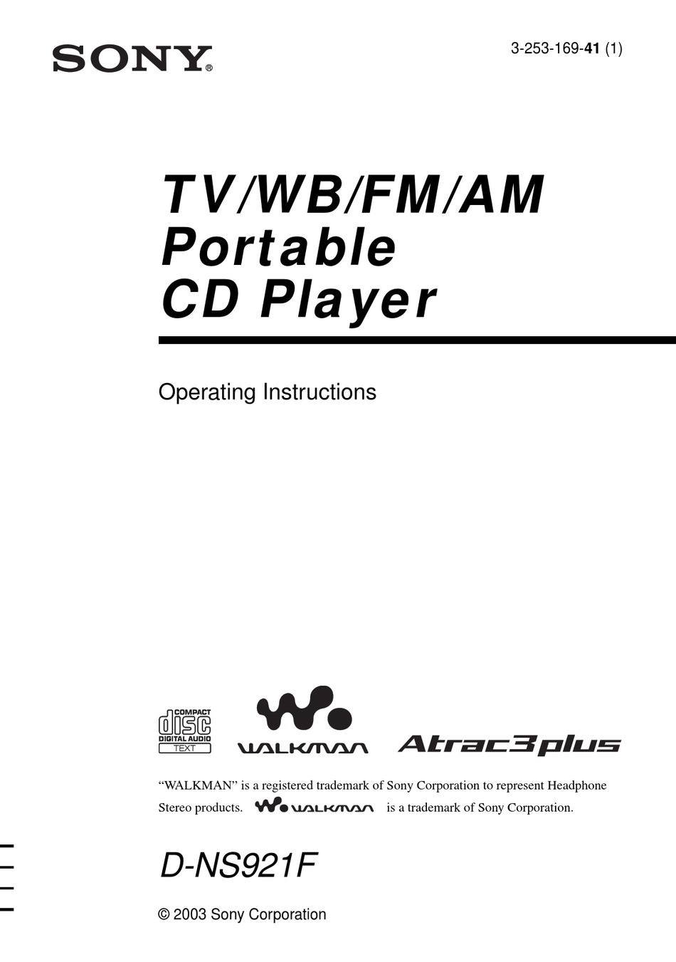 SONY WALKMAN D-NS921F OPERATING INSTRUCTIONS MANUAL Pdf