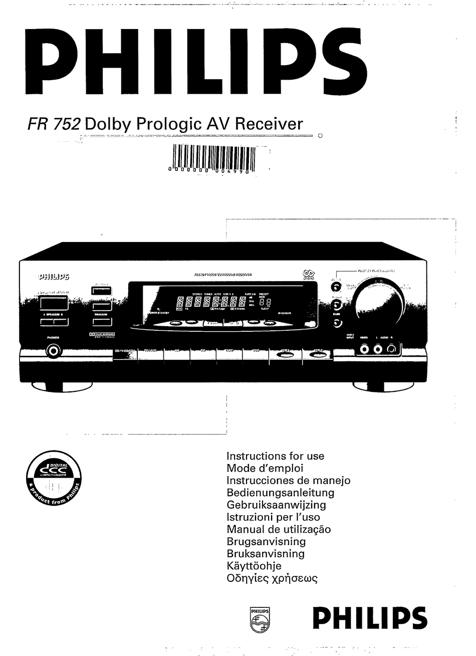 PHILIPS FR752/01X INSTRUCTIONS FOR USE MANUAL Pdf Download