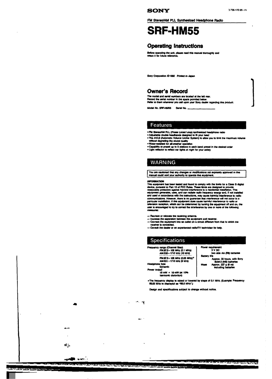SONY WALKMAN SRF-HM55 OPERATING INSTRUCTIONS MANUAL Pdf