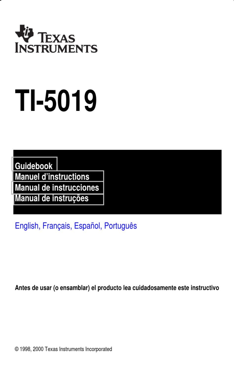 TEXAS INSTRUMENTS TI-5019 MANUAL BOOK Pdf Download