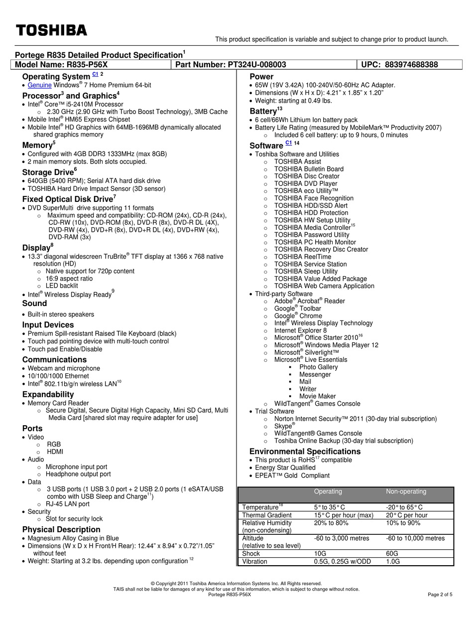 TOSHIBA PORTEGE R835-P56 SPECIFICATIONS Pdf Download