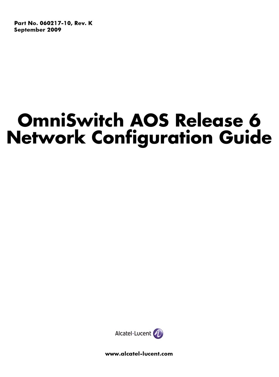 ALCATEL-LUCENT OMNISWITCH 6850-48 NETWORK CONFIGURATION