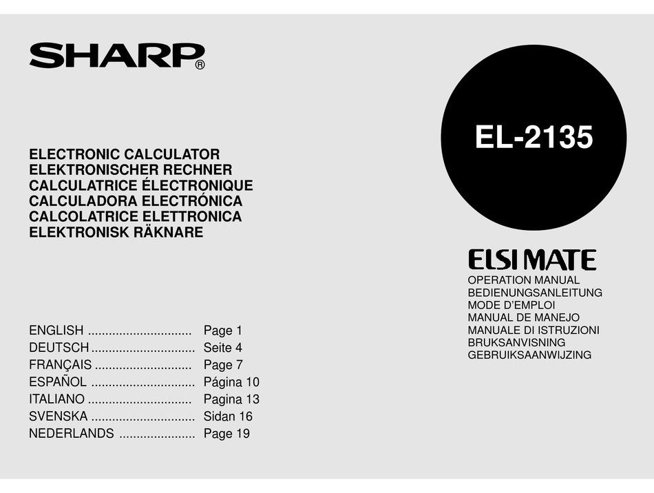 SHARP ELSI MATE EL-2135 OPERATION MANUAL Pdf Download