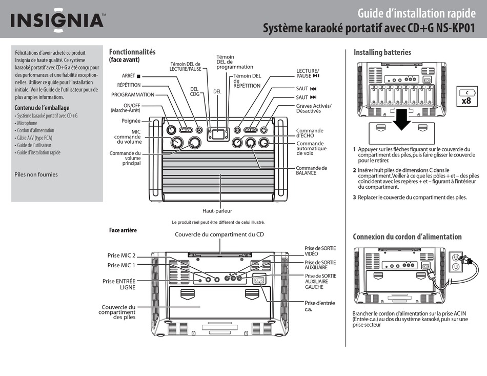 INSIGNIA NS-KP01 GUIDE D'INSTALLATION RAPIDE Pdf Download